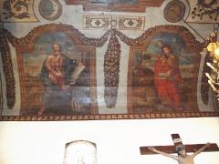 Eglise Saint-Sébastien - English: Jatxou (Pyr-Atl. Fr) Church St.-Sébastien Wall painting St.Luc, St.Marc.jpg