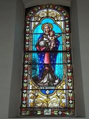 Eglise Saint-Sébastien - English: Jatxou (Pyr-Atl. Fr) stained galss window in the church St.Sébastien, N-D du Sacré Coeur, signatur: