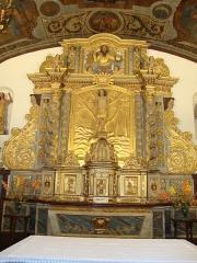 Eglise Saint-Sébastien - English: Jatxou_(Pyr-Atl._Fr) Saint-Sébastien church, altar piece with relief of St.Sebastian.JPG