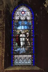 Eglise Saint-Jacques - Deutsch: Katholische Kirche Saint-Jacques in Pau im Département Pyrénées-Atlantiques (Région Aquitaine/Frankreich), Bleiglasfenster mit Signatur E. THIBAUD, Darstellung: Taufe Jesu