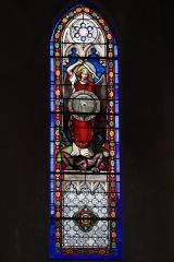Eglise Saint-Jacques - Deutsch: Katholische Kirche Saint-Jacques in Pau im Département Pyrénées-Atlantiques (Région Aquitaine/Frankreich), Bleiglasfenster, Darstellung: Erzengel Michael besiegt Luzifer