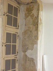 Immeuble - English: Gothic frescos at nr. 17 in rue des Hallebardes in Strasbourg, France. They were rediscovered in 1996.