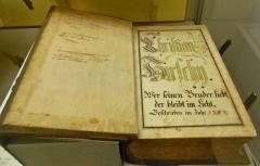Ancien manoir de Vitzthum d'Egersberg dit manoir de Fleckenstein ou Schloessel - English: Ephrata Cloister  Dedication page (in German) for Christian Hershey c. 1750 for Martyrs Mirror, printed in Ephrata