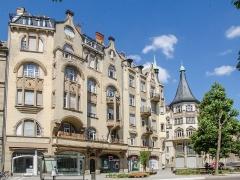 Palais des Fêtes -  A proximité d'une grande artère de Strasbourg, l'avenue des Vosges, plusieurs immeubles sont sortie de terre au début du XXe siècle pendant l'extension de la Neustadt. Par chance l'art nouveau était en grand expansion également à cet époque et permet à se quartier de ne ressembler à aucun autre avec ces maisons et immeubles tout aussi unique les uns que les autres.