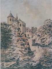 Sanctuaire Notre-Dame de Dusenbach - Français:   Gravure de Walter François terminée au lavis bistré peint avant 1785. Gravure extrait des Vues Pittoresques d\'Alsace de Philippe André Grandididier parue en 1785
