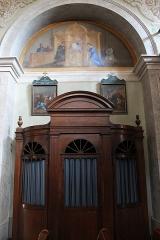 Eglise de Saint-Ferréol située au centre bourg - Français:   Confessionnal de l\'église Saint-Ferréol (août 2018). Peinture murale de l\'église Saint-Ferréol, représentant l\'un des 7 sacrements de l\'église (confession).