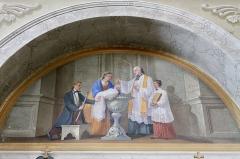 Eglise de Saint-Ferréol située au centre bourg - Français:   Peintures murales de l\'église Saint-Ferréol, représentant l\'un des 7 sacrements de l\'église (baptême).