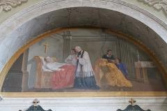 Eglise de Saint-Ferréol située au centre bourg - Français:   Peinture murale de l\'église Saint-Ferréol, représentant l\'un des 7 sacrements de l\'église (sacrement des morts ou extrême onction).