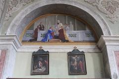 Eglise de Saint-Ferréol située au centre bourg - Français:   Peinture murale de l\'église Saint-Ferréol, représentant l\'un des 7 sacrements de l\'église (mariage).