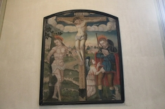 Eglise de Saint-Ferréol située au centre bourg - Français:   Tableau XVIe siècle représentant saint Sébastien et saint Roch entourant le Christ crucifié.