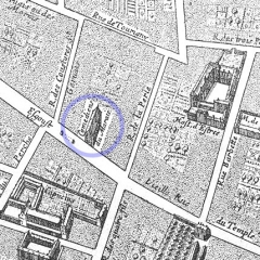 Immeuble - English: The Théâtre du Marais as depicted on the 1652 map of Paris by Gomboust