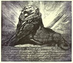 Monument du Lion de Belfort - English: Lion de Belfort: Aux Défenseurs de Verdun, etching by William Walcot, dedicated to the French Armies.
