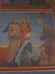 Couvent de franciscains dit Saint-François - Français:   Détail du tableau de la vie de Saint Louis dans la chapelle Saint-Louis de la chapelle des Franciscains de Paris.