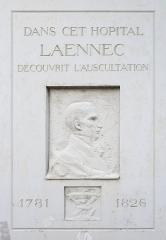 Hôpital Necker - Enfants malades -  Memorial plate of Laennec, Hopital Necker, Rue de Sevres, Paris, France