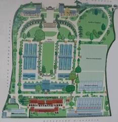 Jardin fleuriste municipal -  Map of Serres d'Auteuil.  Version nettoyée de Image:Plan des Serres d'Auteuil 01 by Line1.JPG.  Map: 48° 50' 49