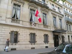 Immeuble de l'Ambassade du Pérou (résidence de l'ambassadeur) - Français:   Ambassade du Pérou en France, 50 avenue Kléber, Paris