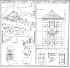 Eaux de Belleville - Plan du regard du Pré-Saint-Gervais. Plan extrait du procès-verbal de la Commission municipale du Vieux Paris, 10 novembre 1898