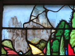 Eglise Sainte-Jeanne-d'Arc - Français:   Détail d\'un vitrail de l\'église Sainte-Jeanne-d\'Arc représentant un élément d\'architecture.
