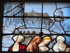 Eglise Sainte-Jeanne-d'Arc - Français:   Détail d\'un vitrail de l\'église Sainte-Jeanne-d\'Arc représentant la cathédrale de Beauvais.