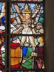 Eglise Sainte-Jeanne-d'Arc - Français:   Détail d\'un vitrail de l\'église Sainte-Jeanne-d\'Arc, daté de 1520-1530, représentant le martyr de Saint-Vincent.
