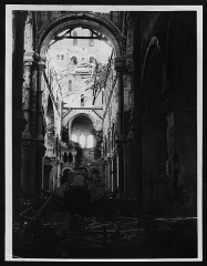 Basilique de Notre-Dame-de-Brébières - English: Ruined interior of Albert Cathedral, 1918. This image illustrates the damage caused by heavy artillery. In April 1918 Albert Cathedral was destroyed by British gunfire, in order to stop the Germans using its tower as an artillery observation post.  Scenes such as this were commonly used as propaganda, intended to reaffirm resolve against the enemy. Some British papers of the time were somewhat economical with the truth, claiming the Germans destroyed the cathedral!  [Original reads: 'The ruined interior of Albert Cathedral.']   http://digital.nls.uk/74545830