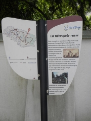 Cimetière de Liers - English: Sign on the pedestrian route through SGdB