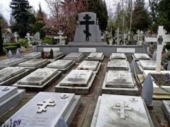 Cimetière de Liers - Français:   Tombes des membres de la division de Drozdovski à Sainte-Geneviève-des-Bois