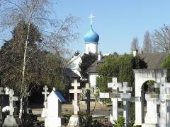 Cimetière de Liers - Français:   L\'église orthodoxe notre dame de l\'assomption de Sainte-Geneviève-des-Bois