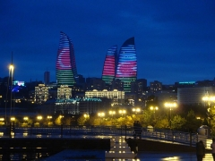 "Ancienne distillerie-usine de mise en bouteille dite ""usine Clacquesin"" - English: Baku in night"