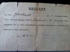 Camp de Drancy, puis Cité de la Muette - English: Receipt for French francs taken from Jewish inmate at Drancy, stating that