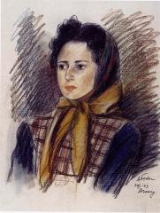 Camp de Drancy, puis Cité de la Muette - English: Charcoal sketch of woman with kerchief in the Drancy Transit Camp.