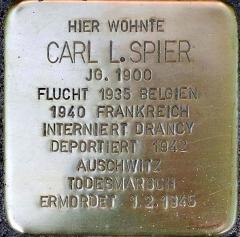 Camp de Drancy, puis Cité de la Muette - Deutsch: Stolperstein für Carl Spier / Gleueler Str. 163 (Köln-Lindenthal)