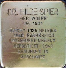 Camp de Drancy, puis Cité de la Muette - Deutsch: Stolperstein für Dr. Hilde Spier / Gleueler Str. 163 (Köln-Lindenthal)