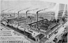 Usine de l'Orfèvrerie Christofle - Français:   Reproduction d\'une vue de l\'usine Christofle de Saint-Denis