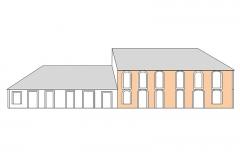 Maison Matis - Français:   Façade sud APRES cyclone 1825 - Plan (Hypothèse)