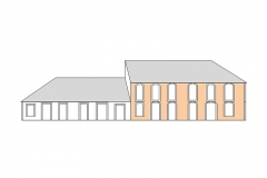 Maison Matis - Français:   Maison Matis. Façade Sud après le cyclone de 1825 - Plan (Hypothèse)