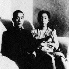 Eglise - English: Writer Mishima Yukio at age 19 with his sister Mitsuko