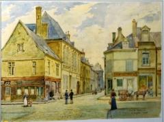 Immeuble - Français:   peinture de E. Auger de la collection du musée le Vergeur, l\'angle de la rue réville et de la rue du MarS.