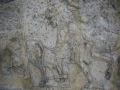 Porte de Mars - Porte de Mars à Reims (Marne, France) en restauration, bas-relief au sommet de l'arche centrale: scène de labour