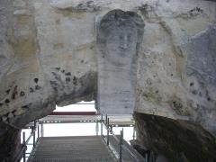 Porte de Mars - Porte de Mars à Reims (Marne, France) en restauration, buste de femme sur l'arche centrale côté nord