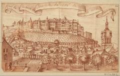 Eglise Notre-Dame -  Vuë du chateau de Joinville du costé de la ville: dessin à la sanguine