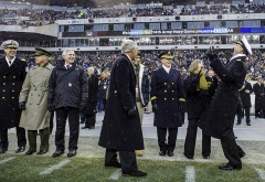 Chapelle Saint-Berchaire -  Secretary of Defense Chuck Hagel, foreground center, Chairman of the Joint Chiefs of Staff U.S. Army Gen. Martin E. Dempsey, third from right, and Chief of Naval Operations Navy Adm. Jonathan W. Greenert, right, attend the Army-Navy football game Dec. 14, 2013, at Lincoln Financial Field in Philadelphia. Navy defeated Army, 34-7. (DoD photo by Staff Sgt. Sean K. Harp, U.S. Army/Released)