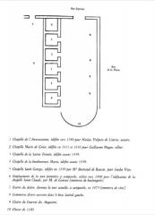 Couvent des Augustins - Français:   Plan des chapelles de l\'ancienne église des augustins, Aix-en-Provence, Bouches-du-Rhône, France