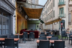 Forum - English: The café in Place du Forum in Arles was painted in September 1888 by Vincent van Gogh as night scene.