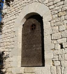 Chapelle Saint-André-de-Julhans - Français:   La porte d\'entrée de la chapelle. Arc en maçonnerie.