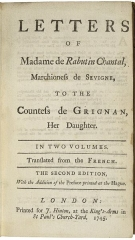 Eglise  et tour attenante - English: The title page of the 1745 English edition of the letters of Marie de Rabutin-Chantal.