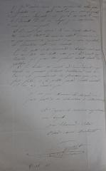 Eglise  et tour attenante - Deuxième page de la lettre écrite dans la deuxième moitié du XIXe siècle par le curé de Granchain au maire de la commune dénonçant l'imposition du presbytère compte tenu de son état et sa signature