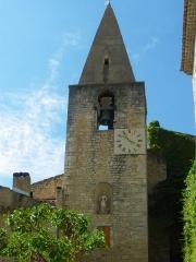 Eglise paroissiale Saint-Sauveur et Saint-Sixte - Français:   Clocher de l\'église Saint Sauveur à Crestet, Vaucluse