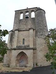 Eglise Saint-Martin et Sainte-Croix - Français:   Façade ouest de l\'église Sainte-Croix à laquelle est accolée une tourelle d\'escalier  (Allas-les-Mines, Dordogne)