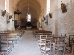 Eglise Saint-Martin et Sainte-Croix - Français:   Nef de l\'église Sainte-Croix d\'Allas-les-Mines (Dordogne)